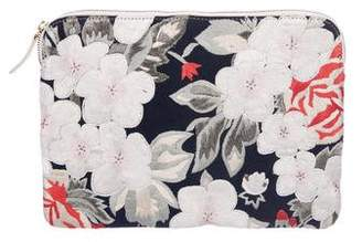Lizzie Fortunato Leather & Floral Embroidered Canvas Clutch