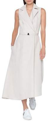 Akris Belted Sleeveless Wool-Crepe Trench Dress