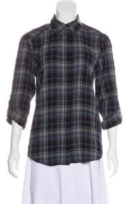 Alice + Olivia Plaid Long Sleeve Button-Up Top