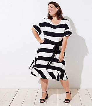 LOFT Plus Striped Tie Waist Flounce Dress