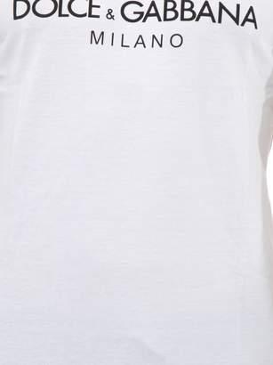 Dolce & Gabbana White Cotton T-shirt With Crown Print