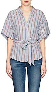 Frame Women's Striped Washed Silk Blouse - Lt. Blue