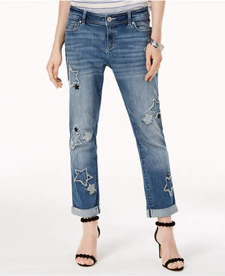 INC International Concepts I.n.c. Star Patch Boyfriend Jeans, Created for Macy's