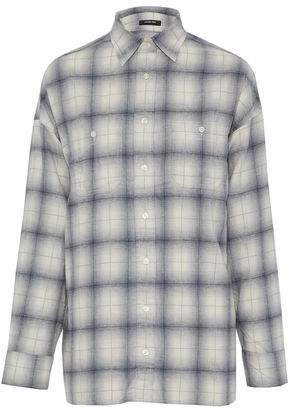 R 13 Open-Back Checked Cotton-Flannel Shirt