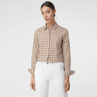 Burberry Check Cotton Shirt , Size: 16
