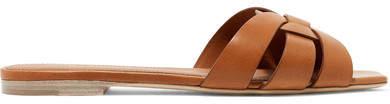 Saint Laurent - Nu Pieds Woven Leather Slides - Tan