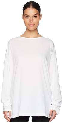 Yohji Yamamoto Y's by Boat Neck Lyocell Long Sleeve Tee Women's T Shirt