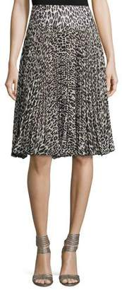 Nanette Lepore Pleated Silk Leopard-Print Skirt $398 thestylecure.com