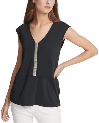 DKNY Embellished Cap-Sleeve Top