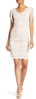 Connected Apparel Fringe Trim Lace Sheath Dress