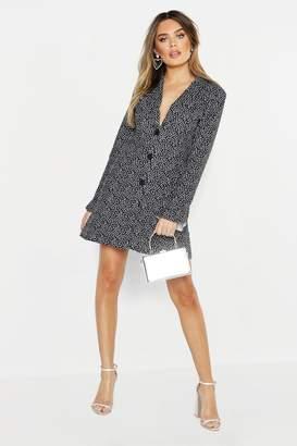 boohoo Spot Ruffle Collar & Sleeve Blazer Dress