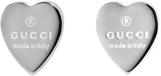 Gucci Silver Logo Heart Earrings