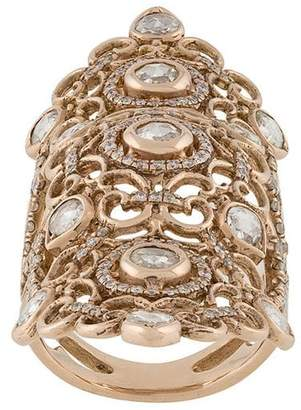 Loree Rodkin 18kt rose gold and diamond long finger ring