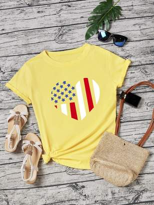 Shein Star And Striped Print Tee