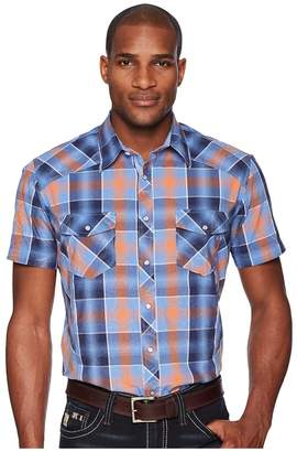 Rock and Roll Cowboy Plaid Short Sleeve Snap B1S5724 Men's Short Sleeve Button Up