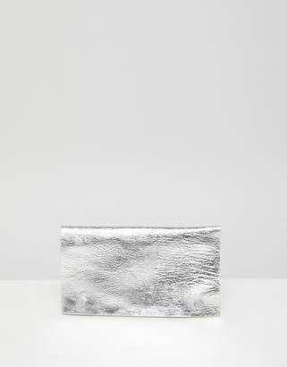 Monki grain soft faux leather wallet in silver