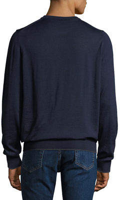 Neiman Marcus Men's Long-Sleeve Wool-Blend Pullover Sweater