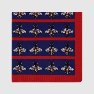Gucci Bee jacquard wool baby blanket