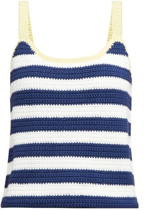 STAUD Capo Striped Knitted Camisole - Womens - Navy Multi