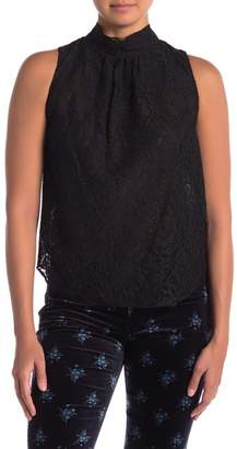 Rebecca Taylor Sleeveless Mock Neck Lace Top