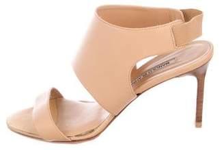 Manolo Blahnik Leather Mid-Heel Sandals