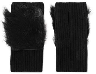 Karl Donoghue Shearling-trimmed Ribbed Cashmere Fingerless Gloves - Black