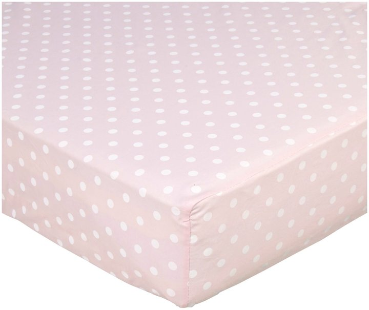 American Baby Company ABC 100% Percale Cotton Crib Sheet - Pink Dot