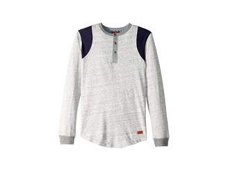 7 For All Mankind Kids Space Dyed Jersey Long Sleeve Henley Pullover (Big Kids)