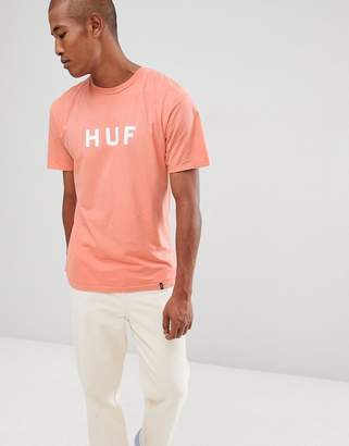 HUF t-shirt with logo in coral