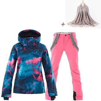 686a2c6548 SunFlower666 Women s High Windproof Waterproof Technology Colorful Printed Ski  Jacket