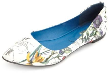 Charlotte Russe Floral Print Pointy Toe Ballet Flats