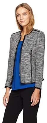 Anne Klein Women's Zip Front Tweed Jacket