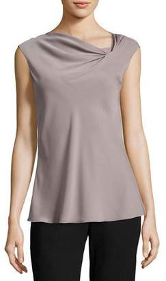 Armani Collezioni Sleeveless Matte Silk Draped Asymmetric Blouse, COLOR