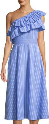 Haute Rogue Sapphire One-Shoulder Striped Midi Dress
