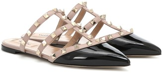 Valentino Rockstud patent leather slippers
