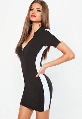 Missguided Petite Black Zip Colorblock Rugby Dress