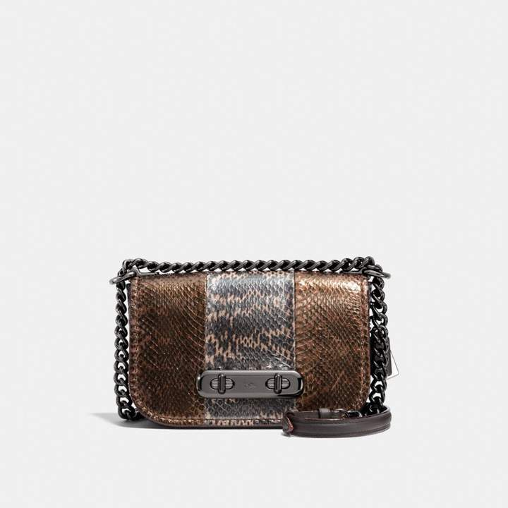 Coach Swagger Shoulder Bag 20 In Metallic Striped Mixed Snakeskin - DARK GUNMETAL/METALLIC MULTI - STYLE