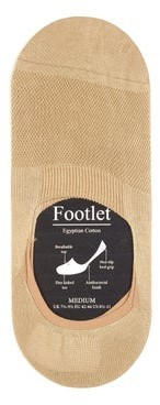 Pantherella Footlet Cotton Blend Shoe Liners - Mens - Light Khaki