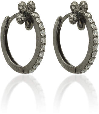 Colette Jewelry Mini Petite Flower 18K Black Gold And Diamond Hoop Earrings