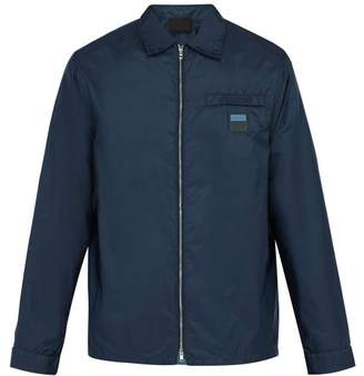 Prada Logo Zip Through Nylon Jacket - Mens - Blue Multi