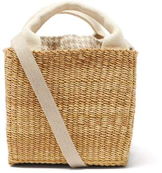 Muun Rita Linen And Woven Straw Bag - Womens - Cream Multi