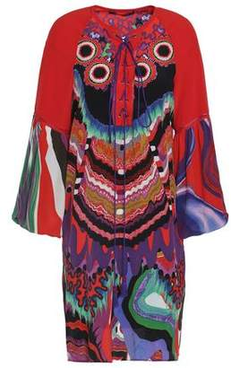 Roberto Cavalli Lace-Up Printed Silk Crepe De Chine Mini Dress
