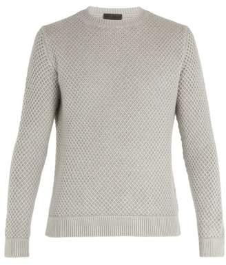 Iris von Arnim Magellan Waffle Knit Cashmere Sweater - Mens - Light Grey