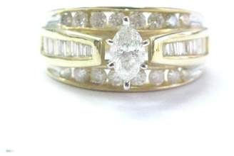 14K Yellow Gold 1.34ct Marquise Baguette & Round Diamond Engagement Ring