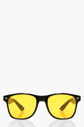 boohoo Eliza Yellow Lens Retro Sunglasses