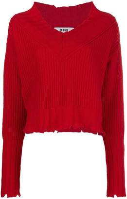 MSGM chunky knit ripped-edge sweater