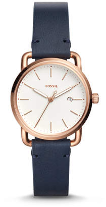 Fossil The Commuter Three-Hand Date Navy Leather Watch