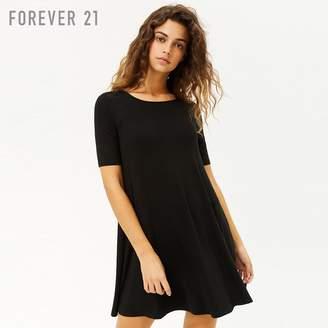 Forever 21 (フォーエバー 21) - Forever 21 スクープネックフレアミニワンピース