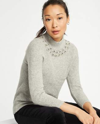 Ann Taylor Jeweled Mock Neck Sweater