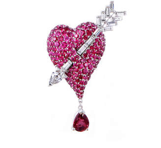 Christian Dior 18K 7.00 Ct. Tw. Diamond & Spinel Brooch